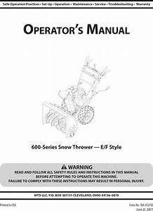 Mtd 31ae6fff752 User Manual Snow Thrower Manuals And