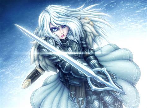 blue eyes white hair sword woman warrior girl