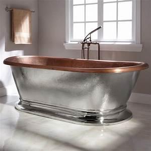 78quot Kelsey Copper Pedestal Tub Nickel Exterior Bathroom