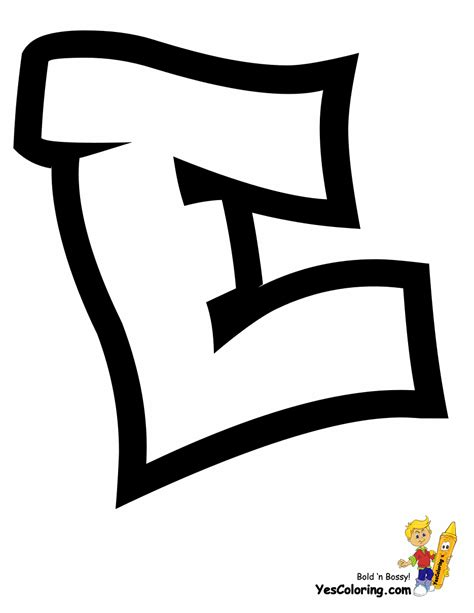 graffiti letter e throw up graffiti coloring pages free alphabet 24684