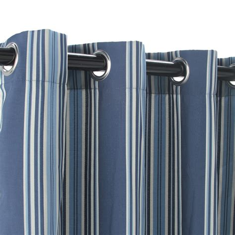 stripe blue polyester outdoor curtains with grommets dfohome