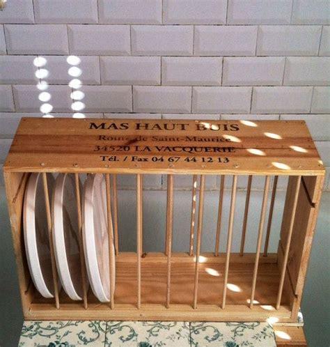 plate rack   vintage  wood wine crate  spaced wooden dowel dividers assorted