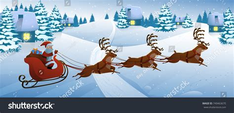 Santa Claus On Deer Riding On Stock Vector 749463670