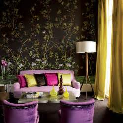 purple livingroom home quotes theme design purple and gold color combination