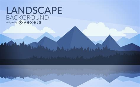 flat mountain landscape design vector
