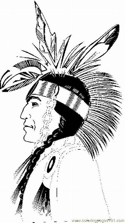 Native Coloring American Pages Printable Profile Thanksgiving