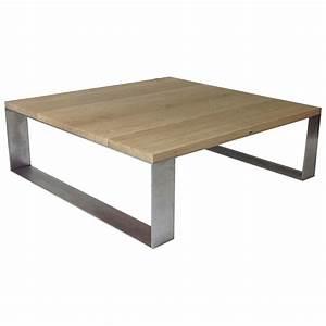 Table Chene Et Metal : table basse ch ne et m tal profil 80x80cm open design ~ Teatrodelosmanantiales.com Idées de Décoration