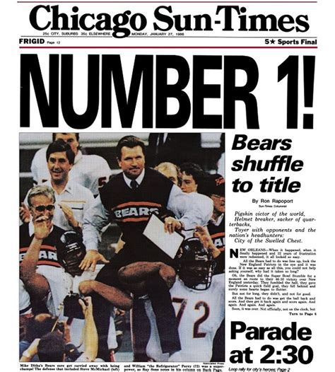 Extra Extra Bears Win Super Bowl Xx—again Bleader