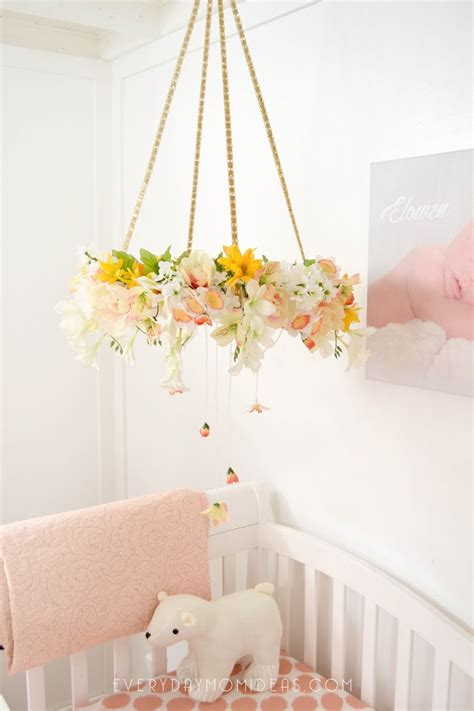 picture of diy floral mobile diy floral baby mobil chandelier full tutorial everyday mom ideas