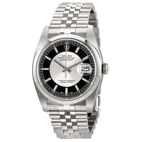 Rolex Datejust Silver and Black Dial Automatic Men's Watch ...