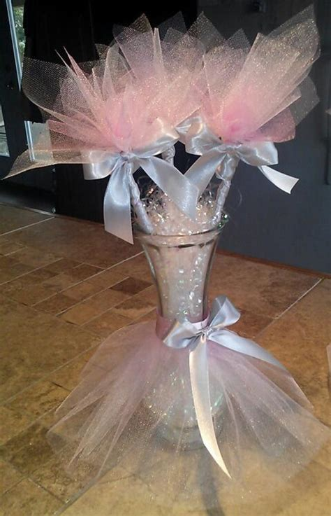 baby shower vases tutu vase centerpieces with tulle flowers for a table