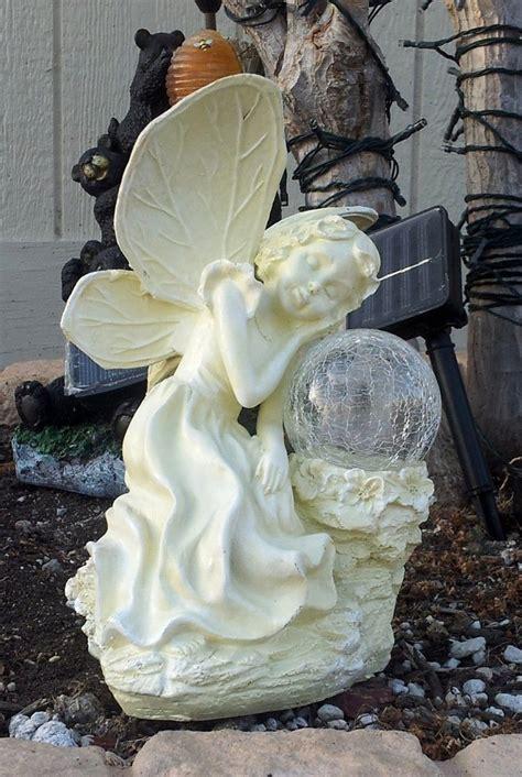 fairy solar light statue color changing solar gazing ball solar angels fairy solar