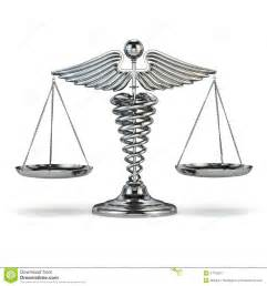Justice Scales and Medical Symbol