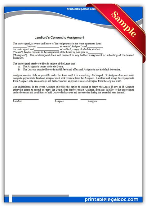 free assignment of lease form free printable landlord consent to assignment form generic