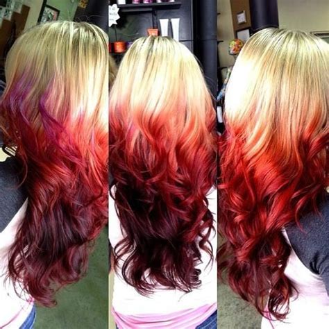 Ombre Hair Color Brown To Red Fire Red Ombre Dipped On
