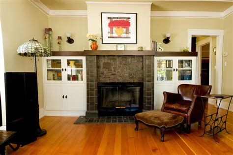 fireplace cap  cabinets traditional living room
