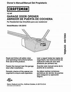 Craftsman 1 2 Hp Garage Door Opener Manual 41a4315 7a