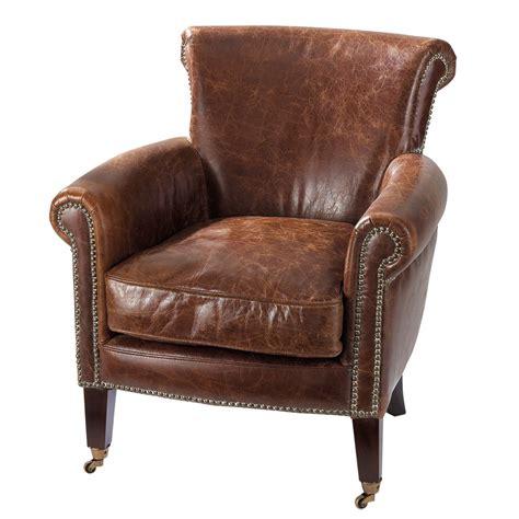 canape angle rond fauteuil en cuir marron effet vieilli cambridge maisons