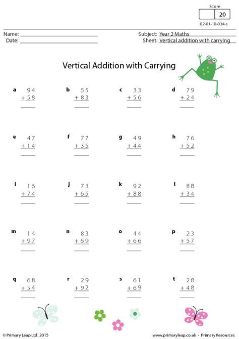 vertical addition worksheet for grade 1 addition