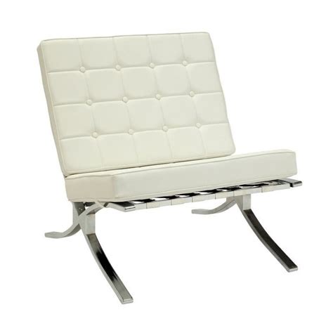 acme elian button faux leather accent chair in ivory 96374