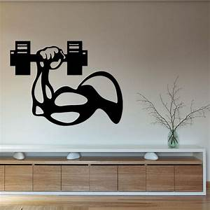 fitness vinyl wall decal bodybuilder man hand dumbbell gym With wall vinyl decals