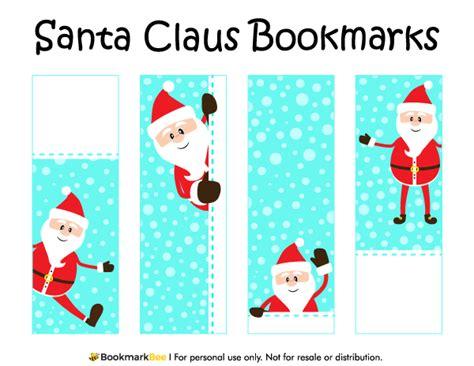 christmas template mark printable santa claus bookmarks