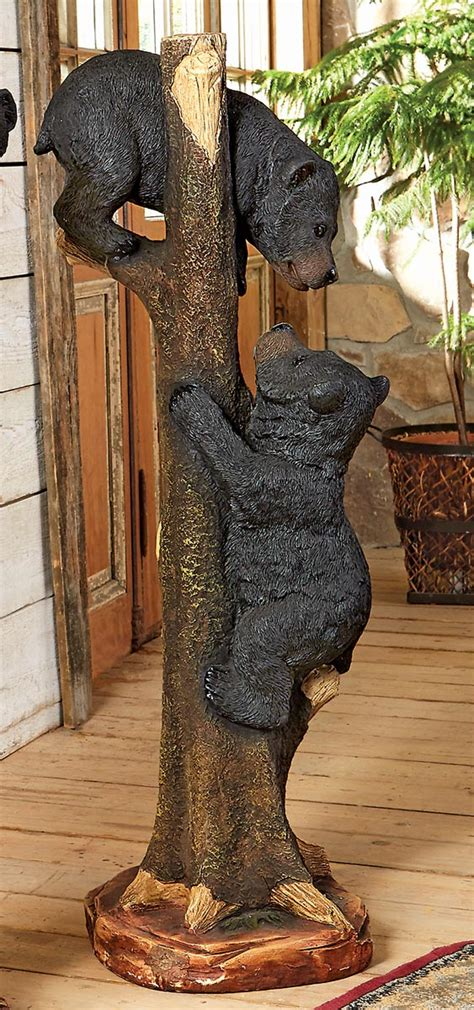 black bears climbing sculpture large