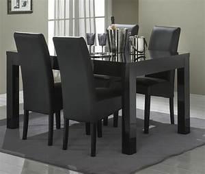 table de salle a manger design laquee noire solene With salle À manger contemporaineavec table a manger noir pas cher