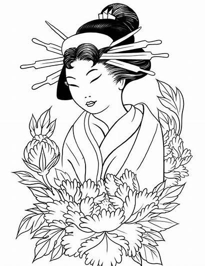 Coloring Geisha Pages Japanese Kimono Paint Ge