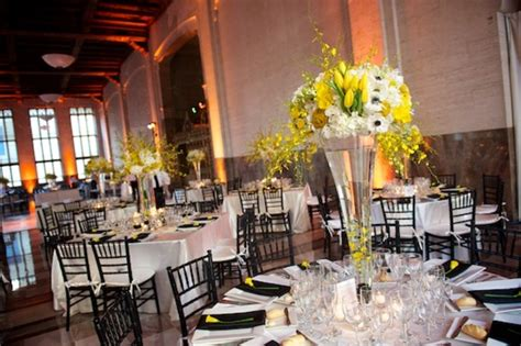 modern yellow black white wedding reception miami elizabeth designs the wedding