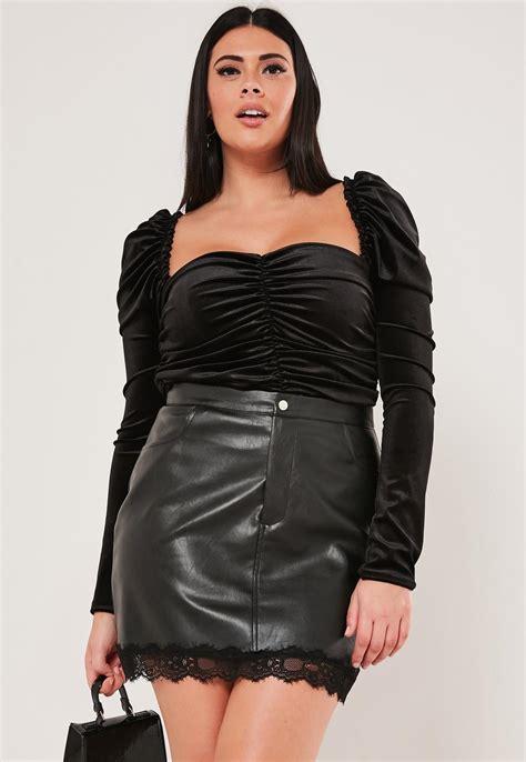 Plus Size Black Faux Leather Mini Skirt | Missguided