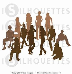 Silhouette Clipart of a Brown Group of Silhouetted People ...