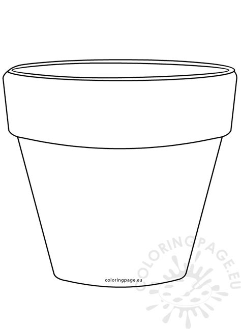 printable flower pot shape image coloring page