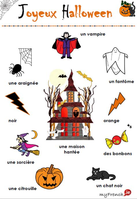 Myfrenchie  Joyeux Halloween!! Vocabulaire  French Teaching Kids  Pinterest Activities
