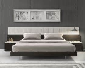 lacquered fashionable wood platform and headboard bed with long panels portland oregon j m por
