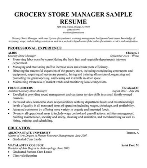 sle grocery store manager resume