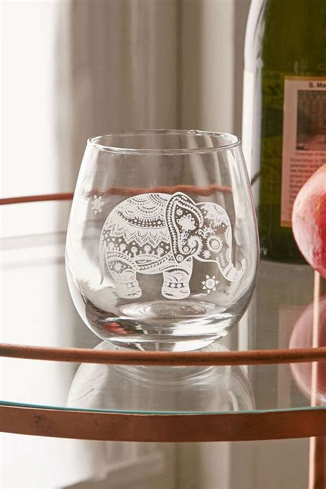 etched elephant stemless wine glass urban outfitters
