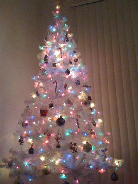 white christmas tree multicolor lights festival collections