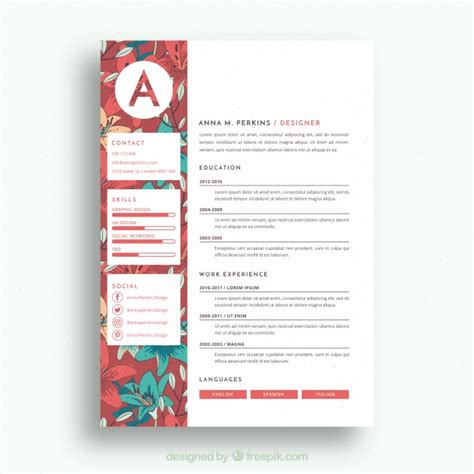 Pretty Resume Templates by Pretty Floral Resume Template Vector Free