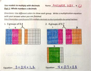 models  multiply  decimals   grade