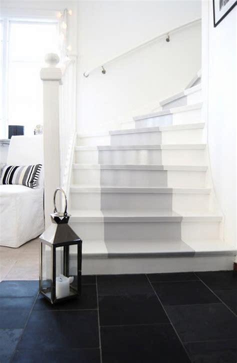 cute grey painted stairs runner homemydesign