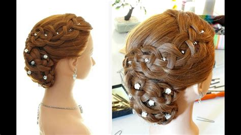 wedding prom hairstyle  long hair braided updo youtube