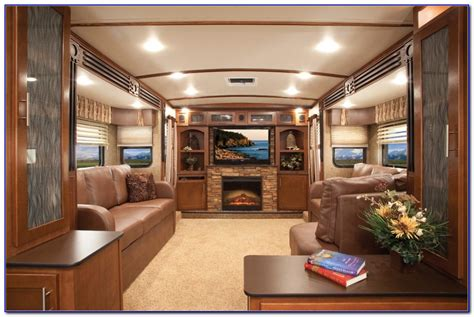 Front Living Room 5th Wheel Camper Kitchen Aid Hand Mixer Tv In Rubbermaid Storage Rustic Menu And Baths Cabinets Accessories Ca Granite Countertops Cost