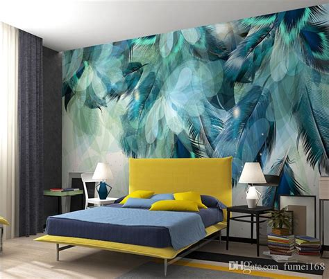 fashion colorful feather  mural wallpaper modern