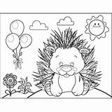 Porcupine Cute Coloring Animals Printable sketch template