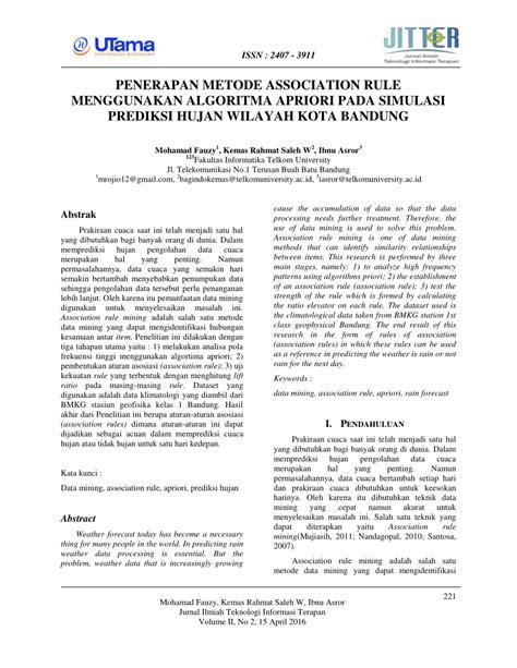 (PDF) PENERAPAN METODE ASSOCIATION RULE MENGGUNAKAN