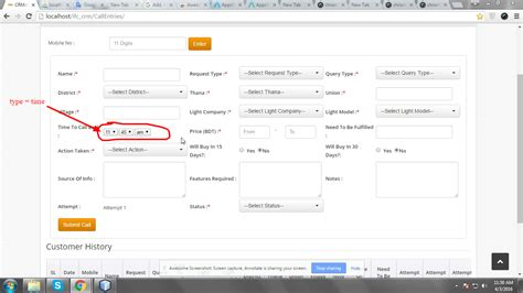how to create a html5 time input using the cakephp form
