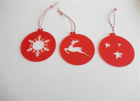 set of six acrylic christmas decorations by edgeinspired