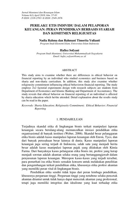 (PDF) PERILAKU ETIS INDIVIDU DALAM PELAPORAN KEUANGAN