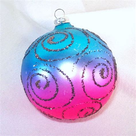 pink and blue christmas ornaments glittered pink and blue glass ornaments from coppertonlane on ruby